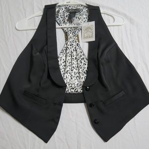 New Sz M Black Guess Juniors Poly #66K Suit Vest